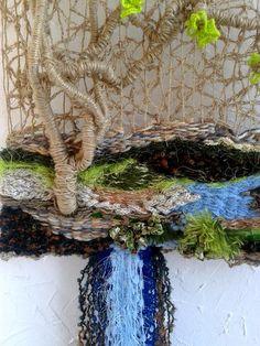 Mano que teje pared de decoración de árbol pintura textil