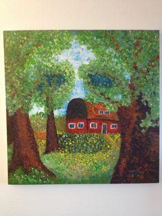 """DIES IST EIN ORIGINAL!  Der """"Frühling"""" aus dem Jahr 2011 stellt den Auftakt des Zyklus """"Vier Jahreszeiten"""" dar.  Jede Jahreszeit wurde in einem anderen Stil gemalt.  Der Clou des Ganzen: auf den ersten Blick eine impressionistische Frühlingslandschaft mit Blumen, Bäumen, einem Bauernhaus und blauem Himmel, offenbart sich dem Betrachter auf den zweiten Blick das dunkle Geheimnis des Gemäldes -> ein Totenkopf.  von StefanRadoi, €250.00"""