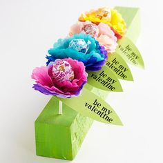 DIY ~ Lollipop Valentine Flowers would make great party deco then gifts!