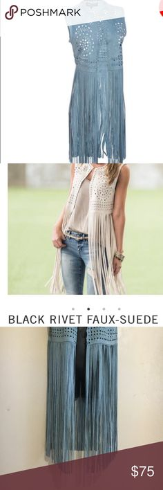 Black Rivet Wilson Leather faux Suede fringe vest NWT  Medallion-shaped cut-outs, lacing and a fringed bottom make this faux-suede vest from Black Rivet a bohemian dream. Express your personal style with this unique piece. Take the look even further with some short boots and a trendy fringe handbag.  All Black Rivet brand outerwear has an ageless attitude and a slim, modern fit. Wilsons Leather Jackets & Coats Vests