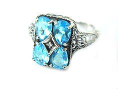 Art Deco Ring Topaz Diamond Silver Filigree by JewelryQuestDesign