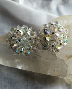 Signed Vintage Laguna Crystal Cluster Clip On Earrings