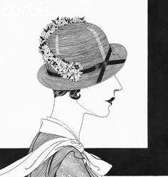 Douglas Pollard, Model in Reboux Hat with flowers, 1932, Copyright Condé Nast Archive / Corbis