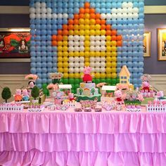 Balloon backdrop at a Peppa Pig birthday party! See more party ideas at CatchMyParty.com!