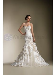 Taffeta Asymmetrical Pleating Mermaid Strapless Sweetheart Neckline Wedding Dress