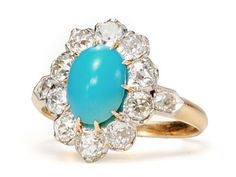 1920s Flash in a Turquoise Diamond Ring - The Three Graces