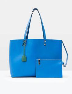 Luxuriöse Einkaufstasche aus Leder (Neues Blau)