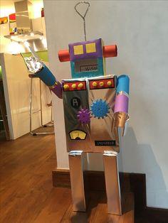 Robot piñata- Upcycling using cereal box, kitchen towel roll tube, cracker box