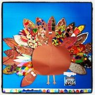 This ALWAYS comes out adorable!!! I read the story -The Night Before Thanksgiving- by Dav Pilkey (Natasha Wing has a cute one too, but it doesn't go with this activity) then give each child one turkey feather to decorate to disguise our turkey from Thanksgiving.  I also add some cool shades to finish the disguise ;) I MUST DO THIS!