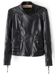 Black Long Sleeve Crop PU Leather Jacket 35.17