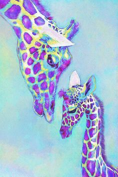 Mother and baby giraffe art in shades of purple, aqua and a touch of yellow. Perfect for baby's room nursery.: