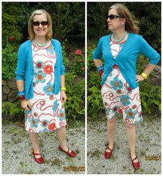 """Outfit of the day 24th February: dress Made by Me - fabric from Tessuti in Melbourne, digitally printed cotton (Made in Italy), turquoise cardigan """"Foil"""" unworn from Hospice Shop, Red shoes from Frames shoes (about 10 yrs ago) mixture of bracelets - some thrifted and some new, thrifted big bead necklace."""