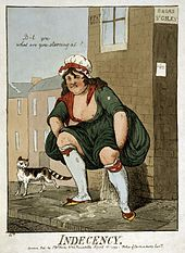 Indecency by Isaac Cruikshank, 1799. The print reflects contemporary public concern over the behaviour of prostitutes.