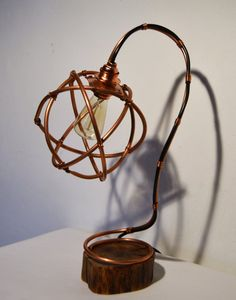 Copper and Wood Table Lamp van SimoneSirnaFineArt op Etsy