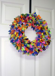 wreaths made from recycled materials | Shabby Chic Recycled Rag Wreath