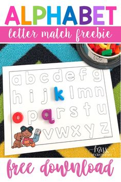 Students will love matching these letters and practicing their alphabet knowledge with this fun download! #alphabetpractice #kindergarten