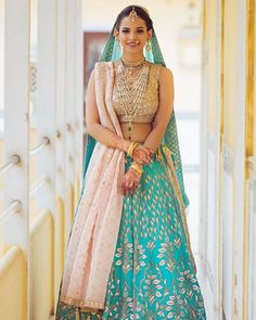 Looking for Bride in Light Blue Lehenga with Gota Work and Satlada? Browse of latest bridal photos, lehenga & jewelry designs, decor ideas, etc. Red Wedding Lehenga, Wedding Lehenga Designs, Blue Lehenga, Bridal Lehenga Choli, Indian Bridal Outfits, Indian Bridal Wear, Indian Dresses, Indian Wear, Indian Fashion Trends