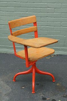 SALE Vintage Orange Painted School Desk. $75.00, via Etsy.