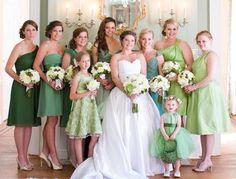 This Bride chose a variety of shades of green for her Spring Wedding. #springwedding #shadesofgreen #weddingplanning