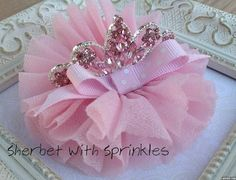 Tiara Hair Clip, Birthday Crown, Birthday Tiara, Toddler Snap Clip, Shabby Chic Hair Clip, Pink Hair Bow, Ballerina Hair Clip