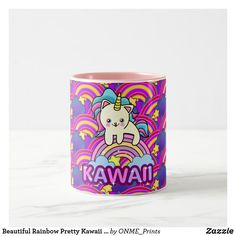 Beautiful Rainbow Pretty Kawaii Unicorn Cat Two-Tone Coffee Mug #Onmeprints #Zazzle #Zazzlemade #Zazzlestore #Zazzleshop #Zazzlestyle #Beautiful #Rainbow #Pretty #Kawaii #Unicorn #Cat #Two #Tone #Coffee #Mug Tea Mugs, Coffee Mugs, Christmas Card Holders, Christmas Cards, Unicorn Cat, Special Gifts, Keep It Cleaner, Create Your Own, Cups