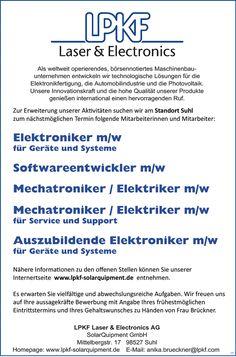 Stellenbezeichnung:  Elektroniker m/w für Geräte und Systeme Softwareentwickler m/w Mechatroniker / Elektriker m/w Mechatroniker / Elektriker m/w für Service und Support Auszubildende Elektroniker m/w für Geräte und Systeme    Arbeitsort:  98527, Suhl    Thüringen  Deutschland    Weitere Informationen unter #stellencompass #Arbeit und:  https://www.stellencompass.de/anzeige/43303/