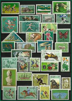 Green Vintage Postage Stamps  Collecting  Craft by stampsandmore,
