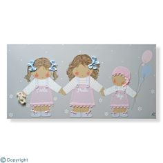 Cuadro infantil personalizado: Tres hermanitas (ref. 12219-01)