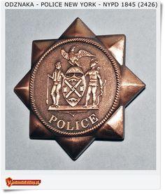 Odznaka USA POLICE New York NYPD 1845