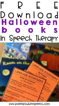These language bookmarks are a FREE download - I love these 4 Halloween books for speech therapy