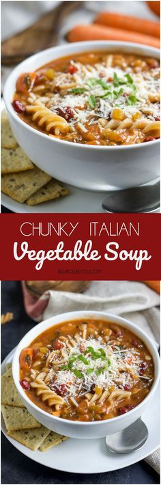 Chunky Italian Vegetable Soup. Nothing warms you up like a thick, hearty soup on cold days. This soup packs in lots of vegetables, beans and whole grain pasta. Have it with a grilled cheese or as a meal by itself! bewholebeyou.com