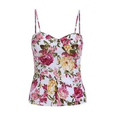 SheIn(sheinside) Multicolor Spaghetti Strap Floral Slim Cami Top ❤ liked on Polyvore featuring tops, slim fit tank top, camisole tank, cami top, slimming camisole and camisole tank tops