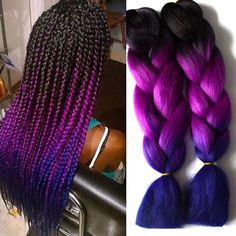 Material: Synthetic Hair Item Type: Hair Extension Items per Package: 3 Pieces/lot Hair Extension Type: No Attachment(Bulk Hair) Net Weight: 100g per piece Style: Straight Model Number: 24inch braid hair ombre color Color avaiable: Ombre Color Black+Purple Blue Braiding Hair Braid Hair Quality : 24inch folded length of braid hair material: syntheitc hair extension material of syntheitc : Hiigh resistance hight temperature synthetic hair Hair Type: Braid hair extension is_customized: Yes…