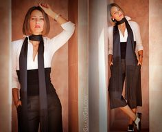 black & white outfit with brogues and by Malene Birger scarf  by GalantGirl.com