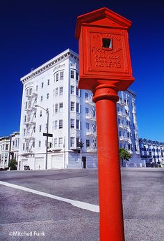 Buildings And Old Red Fire Box In The Western Addition, San Francisco    www.mitchellfunk.com