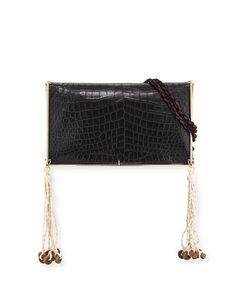 V2QRK Elizabeth and James Wire Frame Crocodile-Embossed Boho Bag, Black/Multi