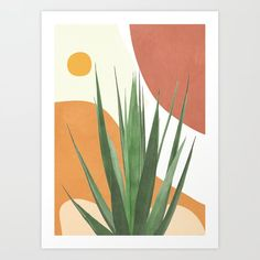 Abstract Agave Plant Art Print by Flow Line - X-Small Plant Painting, Plant Art, Framed Art Prints, Canvas Prints, Agave Plant, Diy Canvas Art, Simple Canvas Paintings, Minimalist Art, Art Drawings