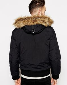 6a4762cdbe2 Enlarge Schott Cropped Jacket with Faux Fur Trim Fur Trim