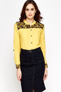 Yellow Lace Insert Blouse for £5 @ Everything5pounds.com