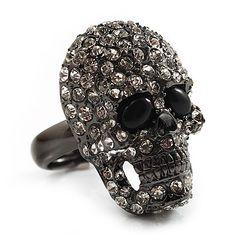 Gun Metal Swarovski Crystal Skull Ring