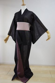 Kimono Dress Japan Vintage Hitoe  Komon Obi set  gown costume S/F KDJM-B0019