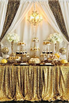 White and Gold Birthday Dessert Table – Party Decorations 2020 Dessert Table Birthday, Birthday Desserts, Wedding Desserts, 50th Birthday Cakes, Wedding Cupcake Table, Golden Birthday Parties, Wedding Candy Table, Gold Birthday Party, Wife Birthday