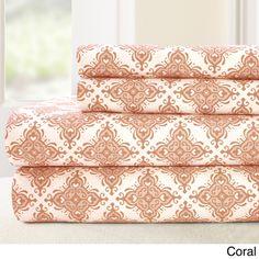 $36 - 100-percent Cotton Printed 4-piece Casablanca Sheet Set