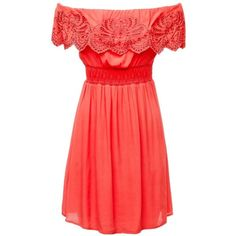 Sue Crochet Dress ($67) ❤ liked on Polyvore featuring dresses, macrame dress, red dress, crochet dress and red crochet dress