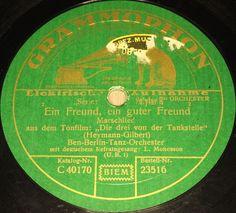 """BEN BERLIN & L. MONOSSON """"Die drei von der Tankstelle"""" GRAMMOPHON 1930 78rpm 10"""""""