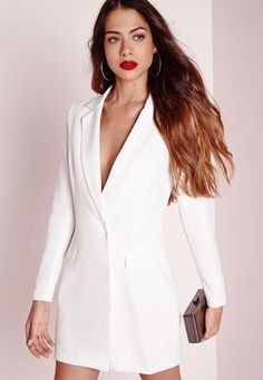 This style is borrowed from the boys, but it looks so much better on us. This White blazer dress is super sexy and will be sure to turn those heads this weekend. With collar front and pocket features this dress is killin' it. Style with som. Tux Dress, Blazer Dress, Jacket Dress, Sexy Dresses, Dress Outfits, Short Dresses, Fashion Outfits, Party Dresses, Sleeve Dresses