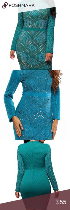 Blue long sleeve quilted dress This dress makes a great New Years dress L (12-14) Dresses Midi