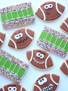 The stadium and game face football cookies are so cute and perfect for a special game day treat!
