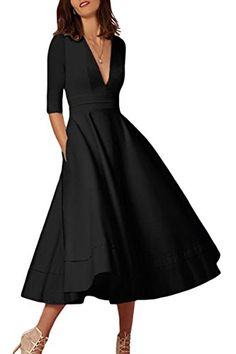 YMING Femme Robe Manches Longues Année 50 Robe Vintage Col V Swing Cocktail Robe Grande TailleNoirXXL