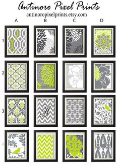 Lime Grey Grey White Vintage / Modern inspired Art Prints -Pick Any (6) Prints, Any Color - 8x10 Prints - (UNFRAMED)